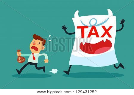 Illustration of businessman with small income running away from tax paper monster