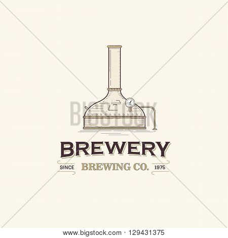 This is vintage beer brewery logo template
