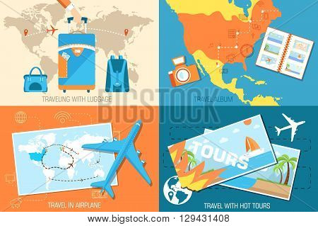 Tour Of The World Banners Concept. Tourism With Fast Travel On A Flat Design Style. Vector Illustrat