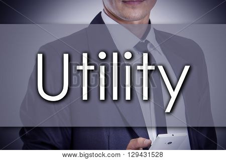 Utility - Young Businessman With Text - Business Concept