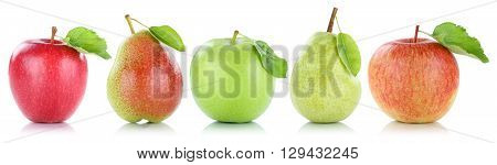 Apple Pear Fruit Apples Pears Fruits In A Row Isolated On White