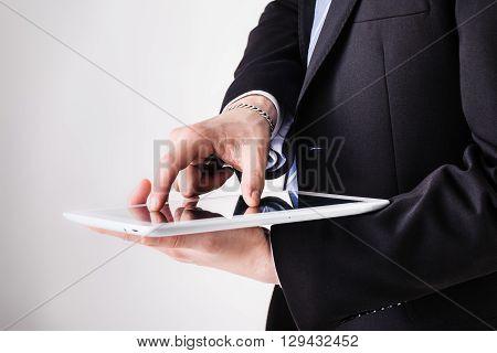Businessman Using Pinch Zoom