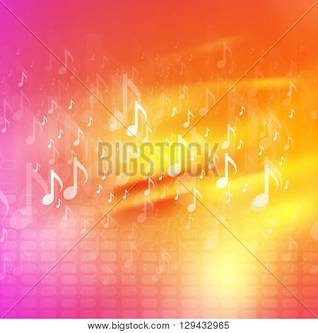 Music notes bright abstract background. Waves design, yellow and pink colors