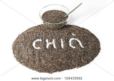 Chia seeds isolated on white background. Selective focus.
