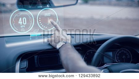 Image of a dashboard against man using satellite navigation system