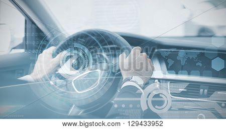 Technology interface against businessman in the drivers seat