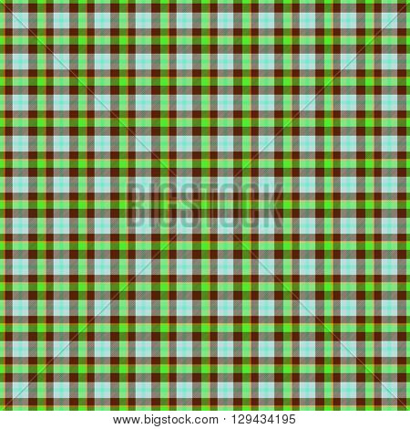 Decorative fabric green, brown and white texture - tartan
