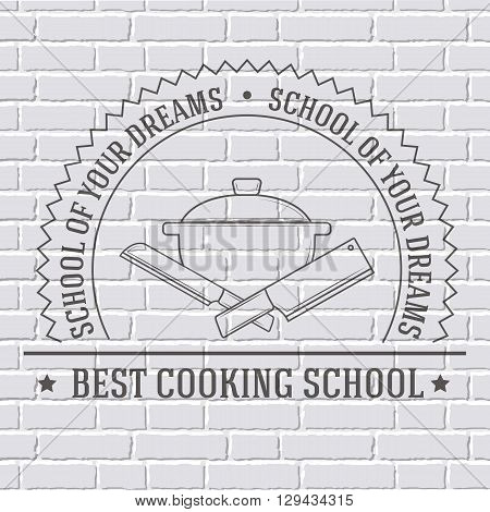 Cooking Logo Or Template On A White Brick Wall. Vector Illustration Of Icon For Your Product Or Desi