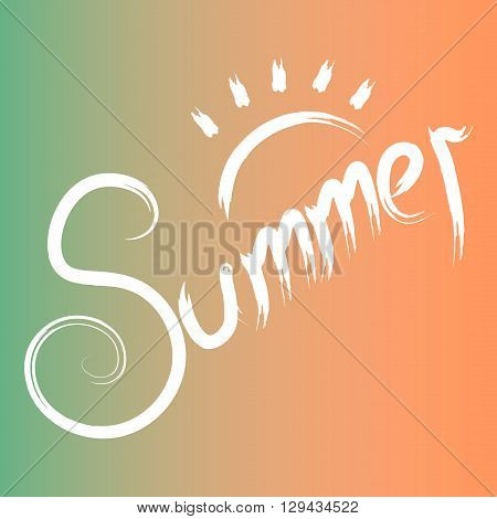 Summer time calligraphic design set.Summer time, summer inscription.Vector hand drawn lettering.Holidays card, season party poster, title, banner.Typographic design template, summer text, words, logo