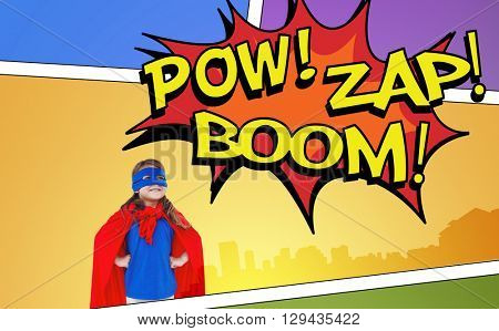 Masked girl pretending to be superhero against the words pow, zap and boom
