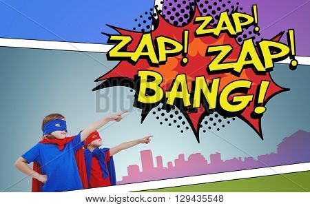 Masked kids pretending to be superheroes against the words zap and bang