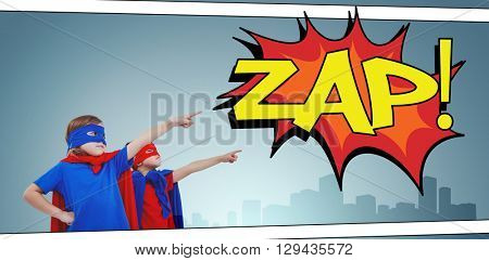 Masked kids pretending to be superheroes against the word zap