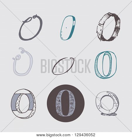 Original letters O set isolated on light gray background. Alphabet symbols editable hand drawn creative in different variations Italic 3d freehand drawn with brush and nib vector Illustration