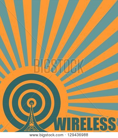 Wi Fi Network Symbol . Mobile gadgets technology relative vector image. Wireless text on sun rays background