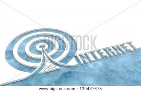 Wi Fi Network Symbol . Mobile gadgets technology relative image. 3D rendering. Internet text