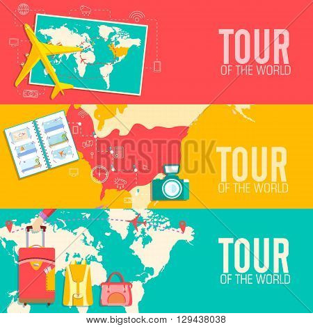 Tour Of The World Concept. Tourism With Fast Travel On A Flat Design Style. Vector Illustration