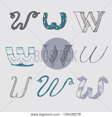 Original letters W set isolated on light gray background. Alphabet symbols editable hand drawn creative in different variations Italic 3d freehand drawn with brush and nib vector Illustration