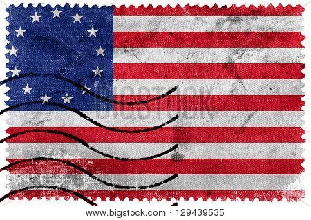 Betsy Ross Flag old postage stamp, vintage look