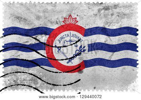 Flag Of Cincinnati, Ohio, Old Postage Stamp