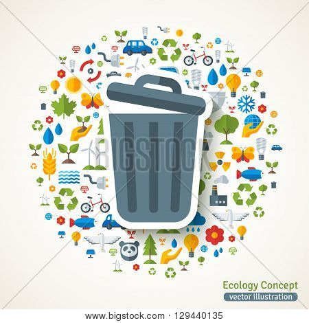 Trash can symbol flat sticker. Vector concept illustration with icons of ecology, environment, green energy and pollution. Save the planet. Eco Technology.