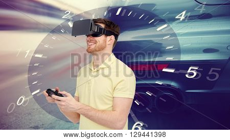 3d technology, virtual reality, entertainment and people concept - happy man in virtual reality headset with game controller gamepad playing car racing game over tachometer and street race background