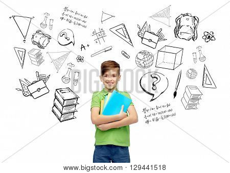 childhood, school, education, learning and people concept - happy smiling student boy with folders and notebooks with doodles
