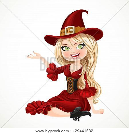 Beautiful Blonde Witch In Maroon Dress Sitting On The Floor And