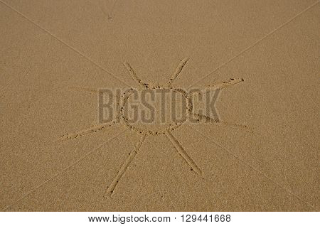 Picture of the sun drawn in wet sand