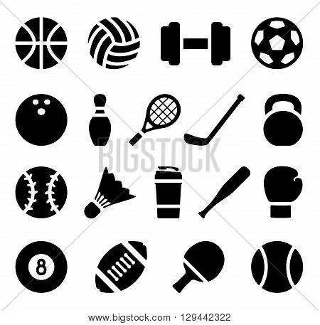 Vector illustration. Icon set of black simple silhouette of sports equipment in flat design. For info graphic, web banners, promotional materials, presentation templates and your interface