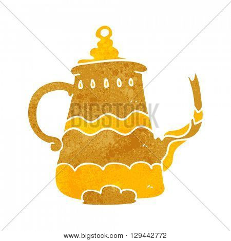 freehand retro cartoon fancy coffee pot