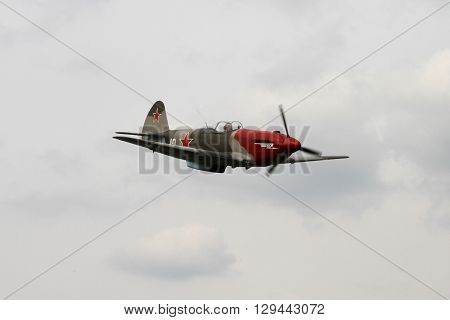 OSTRAVA, CZECH REPUBLIC - APRIL 30, 2015: Combat Plane YAK-3, Yakovlev, 70-th Anniversary of the Liberation of Ostrava on April 30, 2015 in Ostrava, Czech Republic / Yakovlev Yak-3 Combat Plane