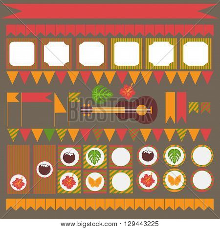 Printable set of hawaii party elements. Templates and labels, icons, flags and wraps.