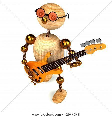 3D Wood Man Bass Guitar Player