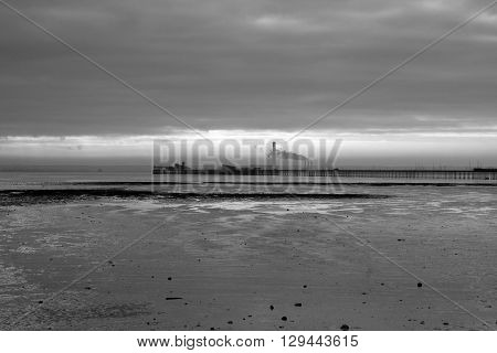 Black and white image of Southend Pier Southend-on-Sea Essex England