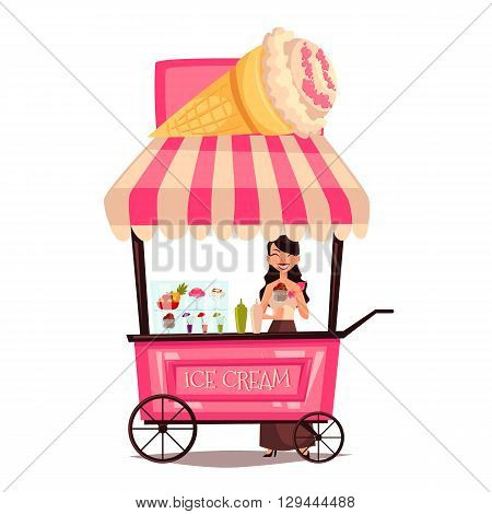 Fast food ice cream cart, vector cartoon set isolated on a white background, street selling ice cream, comic girl street vendor ice cream