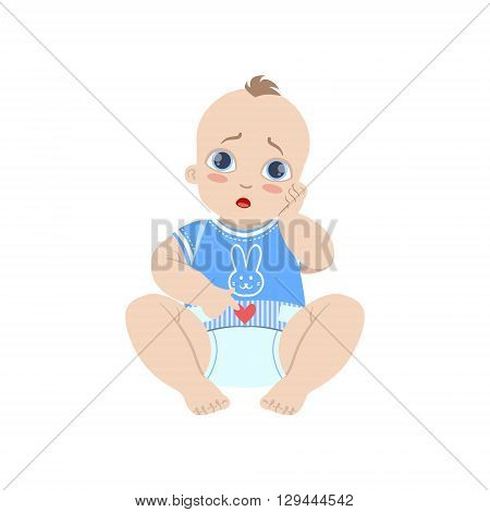 Baby In Blue With Dirty Nappy Flat Simple Cute Style Cartoon Design Vector Illustration Isolated On White Background