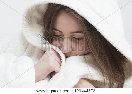 Portrait of teenager girl with high fever