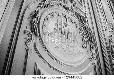 Rio De Janeiro, Brasil - March 06, 2016:  Architectural Details  Of Door Detail Manually Crafted Bui