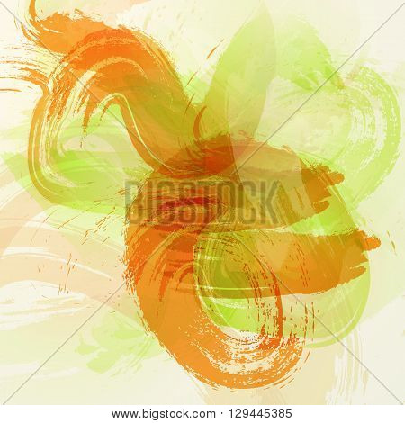 Orange And Green Colorful Watercolor Stain