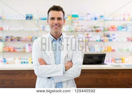 Pharmacist in drugstore