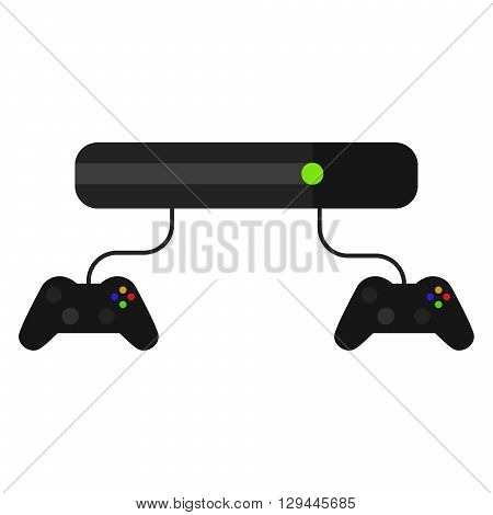 Videogame console with joysticks isolated on white. Vector game pad icon in flat style.