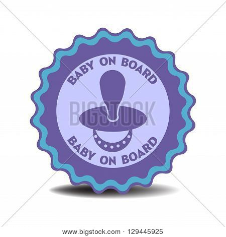 Isolated sticker with the text baby on board written on the sticker