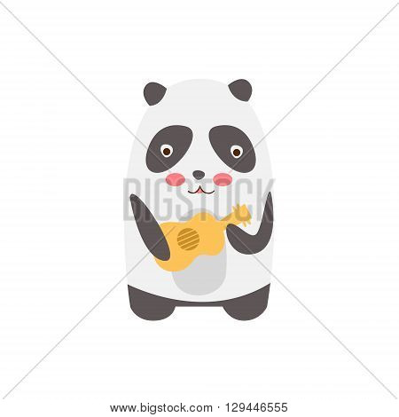 Panda Playing Guitar Creative Funny And Cute Flat Design Vector Illustration In Simplified Mulicolor Style On White Background