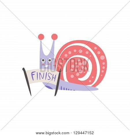 Snail Crossing The Finish Line Creative Funny And Cute Flat Design Vector Illustration In Simplified Mulicolor Style On White Background