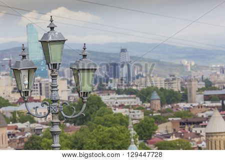 Tbilisi, Georgia - 07 May 2016: Funicular And Aerial View Of Tbilisi, Georgia