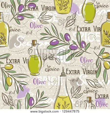 Background with olive bottle oil leafs and spice. Ideal for printing onto fabric and paper or scrap booking.