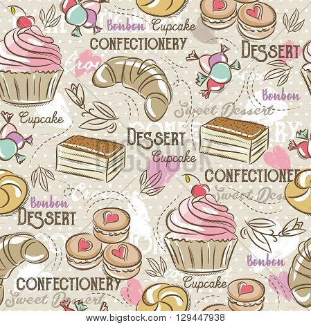 Background with cupcake croissan cake and bonbon. Ideal for printing onto fabric and paper or scrap booking.