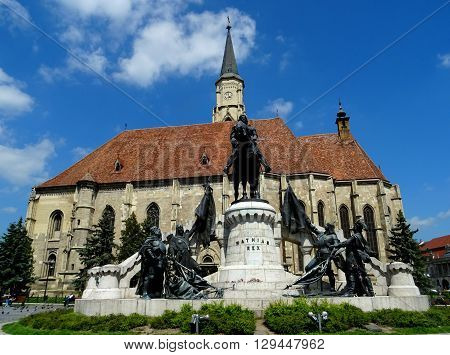 is the square of the union, behind this, it is the san Mihail Catholic cathedral, city Cluj-Napoca,  Transylvania.