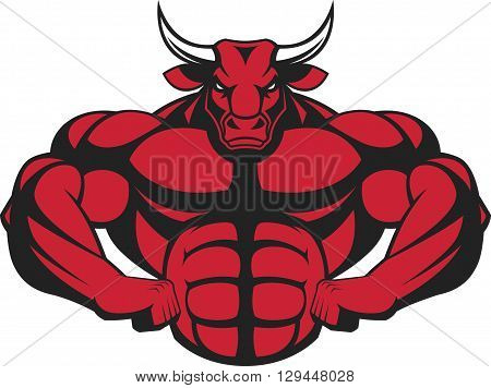 Vector illustration of a strong bull with big biceps.