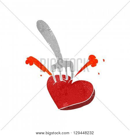 freehand retro cartoon heart stabbed by fork